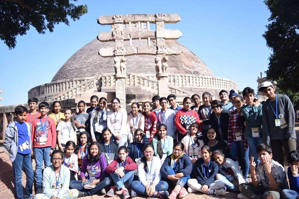 Sanchi with students of the Shriram Millennium School, Noida